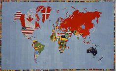 Alighiero e Boetti: Mappa del mondo 1971-73 - tela di lino ricamata, 232 x 380 cm http://www.boettiealighiero.virtuale.org/1970s/opere_anni_70_mappa_1971.htm
