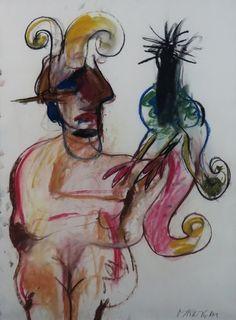 Anton Martineau - pastelkrijt tekening bij Kunstuitleen en Galerie De Bleyenhoeve, Westerlee, Groningen - Kunstuitleen en Galerie De Bleyenhoeve