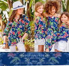 Tropical flowers for Girls. Numa loja Lanidor Kids ou em www.lanidor.com.
