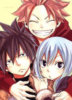 Natsu, Gray and Juvia. Soo cute!! *^*