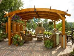 pergola idea, but plant the bejeezus out of it.