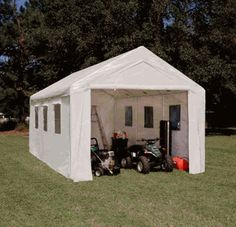 10 X 20 Portable Garage with Sidewalls and Plastic Windows ... I put one (similar) I got from Costco up 2  years ago in my remote  camp near the mountains, it has stood up to snow packs that cracked the roof of my  utility trailer.