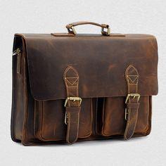 Top Grade Handmade Mens Real Crazy Horse Leather Briefcase Vintage Style Messenger Shoulder 15 inch Laptop Bag Case Handbag 1061 SEE Leather Laptop Bag, Leather Briefcase, Vintage Leather, Vintage Men, Vintage Style, Cowhide Leather, Leather Men, Real Leather, Saddle Leather