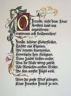 United Europe national anthem first page calligraphy: by Barbara Calzolari illumination:  from Tiziana gironi