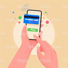 New Mobile, Mobile App, Bank Financial, Digital Wallet, Social Media Ad, Pay By Credit Card, Hand Illustration, Free Vector Art, Smartphone