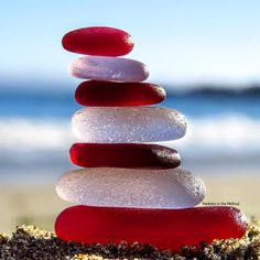 What if people worried about authenticity of self just as much as they question… Sea Glass Beach, Sea Glass Art, Sea Glass Jewelry, Sea Glass Colors, Sea Glass Crafts, Stone Art, Sea Shells, Red And White, Colour