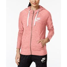 Nike Gym Vintage Full-Zip Hoodie ($50) ❤ liked on Polyvore featuring tops, hoodies, bright melon, lightweight hooded sweatshirt, sweatshirt hoodies, lightweight hoodies, nike hoodies and lightweight hoodie