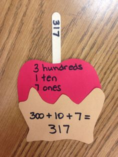 Place Value Caramel Apples (use with candy corn)