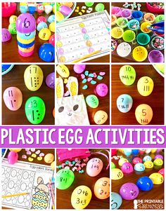 Easter Egg Math Activities for Kindergarten {Freebies Included! Kindergarten Freebies, Kindergarten Math Activities, Easter Activities, Spring Activities, Kindergarten Classroom, Math Games, Subtraction Activities, Classroom Freebies, Preschool Math
