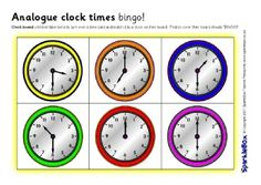 A printable bingo set which includes clock boards and written time boards. A simple but fun activity where children match the analogue clock time to the times on their board and vice versa. Bingo Set, Learn To Tell Time, Bingo Board, Time Activities, Digital Clocks, Helping Children, Homeschool Math, Teaching Math, Maths