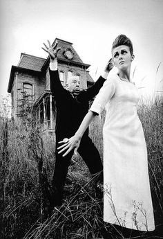 Jeanloup sieff  Alfred Hitchcock and model Ina Balke during a photoshoot  on the set of 'Psycho' for the January 1962 edition of Harper's Bazaar.