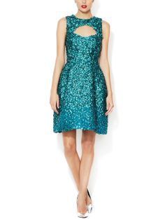 Beaded Fit n' Flare Keyhole Dress by Monique Lhuillier at Gilt