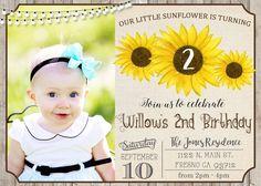 Sunflower Birthday Party Invitation Invite with Picture Photo Pic Rustic Shabby Chic Flower Child Burlap Coachella Kidchella