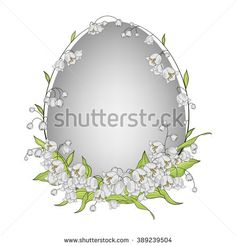 Colorful illustration background, invitation or greeting card template with beautiful Easter egg and lily of the valley wreath. Spring…