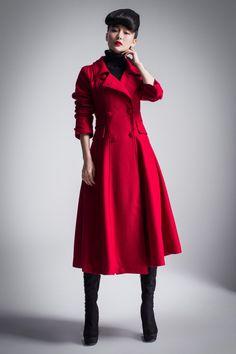 Red Cashmere Coat Long Sleeve Wool Jacket Big Sweep Maxi Wool ...