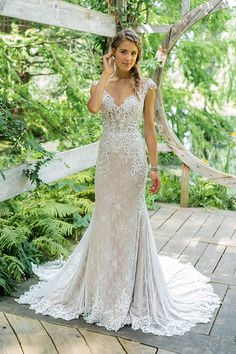 b176a0031ea6 Lillian West Style #66012 - Natural waist fit and flare wedding dress. All  over