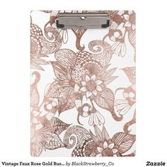 Vintage Faux Rose Gold Rustic Floral Drawings Clipboard