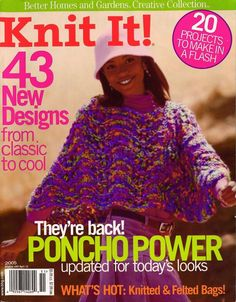 BHG Knit It Knitting Patterns Aran Sweaters Poncho Felted Bags Pet Pillows 2005 #BetterHomesGardens
