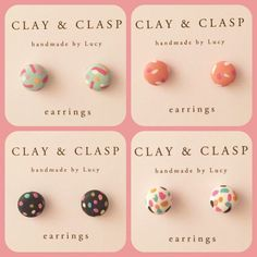 Polymer Clay Confetti Earrings handmade by me! Earrings are approx in diameter. I carefully mix the polymer clay to blend beautiful Polymer Clay Projects, Polymer Clay Charms, Handmade Polymer Clay, Polymer Clay Jewelry, Clay Crafts, Polymer Clay Tutorials, Fimo Clay, Diy Jewelry, Handmade Jewellery