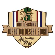 Show your Desert Storm pride on your car, truck, cooler and more with this all new 25th Anniversary Operation Desert Storm Decal sticker. Clear backing.