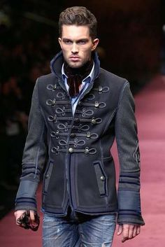 This male military inspired jacket very much resembles that of a true, historic military officer.