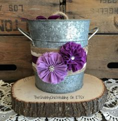 Rustic Ice Bucket Purple and Lavender by RusticGlamDesigns on Etsy