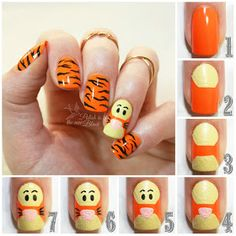 disney nail designs The Wonderful Thing About Tigger! / Polish Is The New Black Cute Nail Art, Nail Art Diy, Easy Nail Art, Cute Nails, Pretty Nails, Disney Acrylic Nails, Best Acrylic Nails, Acrylic Nail Designs, Nail Art Designs