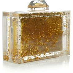 Kotur Glitter Globe Perspex box clutch ($460) ❤ liked on Polyvore