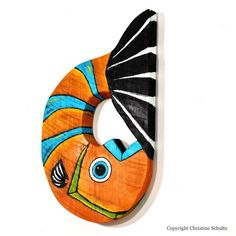 Painted Wood Fish Art Handmade in Mississippi by by TaylorArts