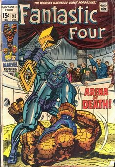 FANTASTIC FOUR # 93 ( 1969 ) MARVEL COMICS SHARP COPY! Giant-Size comics will usually count as 2 or 3 comics because of their weight. Comic lays flat, normal wear and tear for the grade. Sharp copy with a stain on back cover. Comic Book Artists, Comic Book Heroes, Comic Artist, Comic Books Art, Univers Marvel, Silver Age Comics, Stan Lee, Fantastic Four Comics, Beste Comics