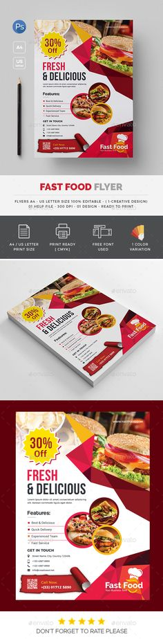 Fast #Food #Flyer - Flyers Print Templates Download here:  https://graphicriver.net/item/fast-food-flyer/20317852?ref=alena994