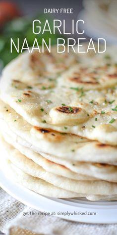 Garlic Naan Bread | dairy free naan bread, dairy free bread, naan bread recipes, dairy free sides, gilmore girls food | @simplywhisked