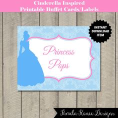 INSTANT DOWNLOAD Printable Cinderella Inspired Silhouette Buffet Labels/Cards. Perfect affordable addition to a baby shower, bridal shower or birthday party!