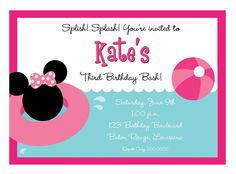 Minnie pool party invite - redo with the girls' names.