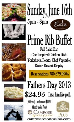 Father's Day 2013 Chef Dishes, Prime Rib, Salad Bar, Fathers Day, Buffet, Events, Vegetables, Eat, Ethnic Recipes