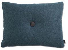 Pute i 100 % ny ull, Dot 1 Divina Melange. Design Hay. H:43 x:58 cm, med innerpute. 1 knapp i Anthracit på den ene siden og 1 knapp Aqua på den andre siden. Dots, Throw Pillows, Stitches, Cushions, The Dot, Decor Pillows, Pillows, Polka Dots, Decorative Pillows