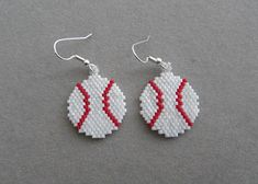 Baseball Earrings in Delica Beads