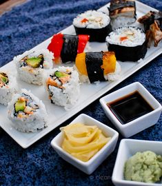 Vegan Sushi- These all look so awesome!~love vegan sushi!  cashews and smoked tofu work too, and shitake mushrooms, of course avocados, and a little spicey vegan mayo is always nice.