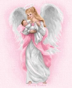 This is how my friend Patte sees our daughter,April, in heaven -- caring for little ones.