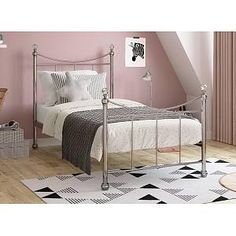 Lizzie S Nickel Bed (Sprung Slats) Metal Bedsteads, Single Metal Bed Frame, All Covers, New Beds, Mattress Protector, Solid Wood Furniture, Home Decor, Decoration Home, Room Decor