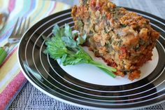 How about this BBQ Lentil Oat Loaf for your healthy holiday menu? #easter #vegan #meatloaf