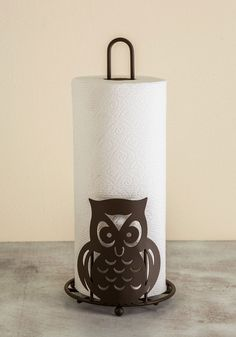 Your Finest Owl Paper Towel Holder. Culinary clean-up? #brown #modcloth