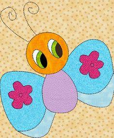 Applique Quilt Patterns   Childrens Quilt Block Bug Applique Pattern/Template, for in PDF ...