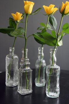 Set Of 4 Pretty glass bottles.  I want!