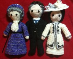 Amigurumi Lady Violet, Lord Robert, and Lady Cora from Downton Abbey