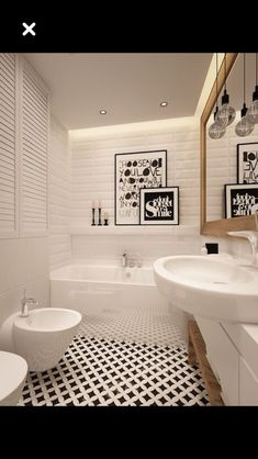 Sol et murs blancs #blancs Salle De Bain Scandinave