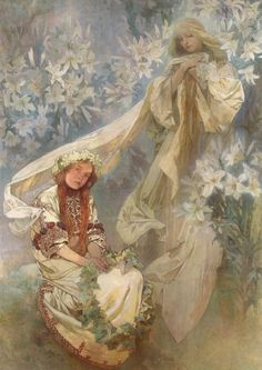 Aphonse Mucha An ethereal vision of Madonna, surrounded with a mass of lilies, sits above a seated young girl in Slavic folk costume holding a wreath of ivy leaves