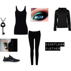 My Dauntless clothes (probably not blue eye shadow, mine will probably be skin colored and I'll have black eyeliner)