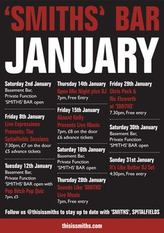 Visit our Events page to find out what events are happening at 'SMITHS' Bar in January