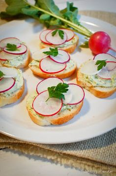 French Herb Cheese and Radish Crostinis